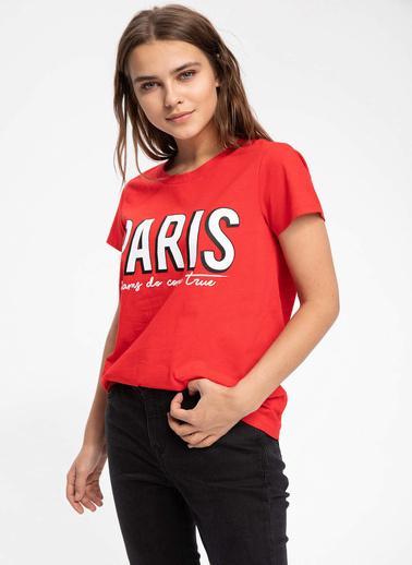 DeFacto Şehir Baskılı Kısa Kollu T-shirt Kırmızı
